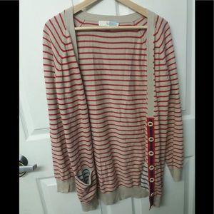 Boden 8 Cotton Angora Striped Cream Red Cardigan